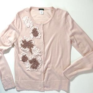 J. Crew Pink Merino Wool Cardigan Sweater